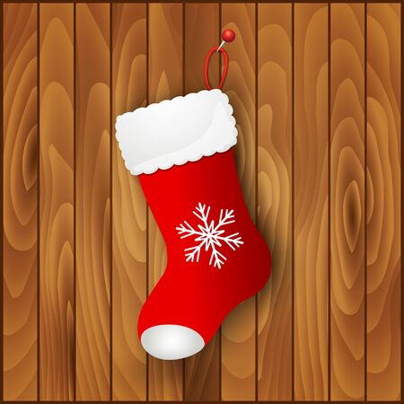 toy sack: Red Santas boot on wooden background. Vector