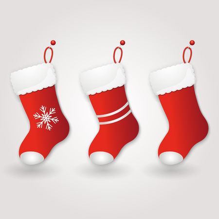 Set of Red Santas boot. Christmas background. Vector illustration