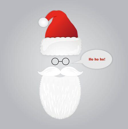 Santa beard, glasses and hat. Christmas holiday card with Santa Claus. Vector illustration