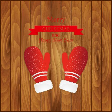 mittens: Vector illustration pair of red christmas mittens on wooden background. Mitten icon. Christmas greeting card with mittens.