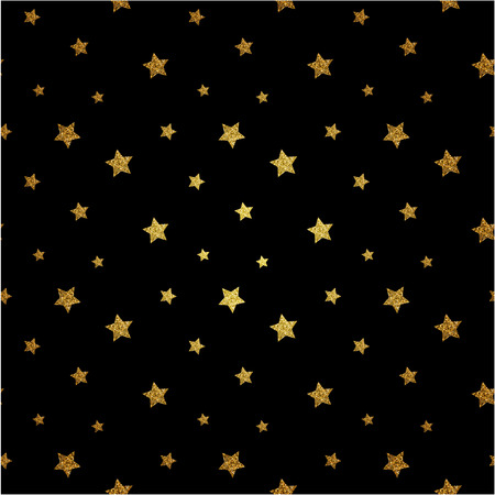 gold textured background: Seamless pattern with gold glitter textured stars. Vector background