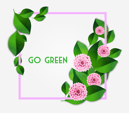 dahlia: Fresh spring background with green leaves and pink dahlia. Vintage greeting card. Vector illustration.