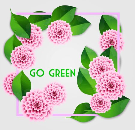 Fresh spring background with green leaves and pink dahlia. Vintage greeting card. Vector illustration.