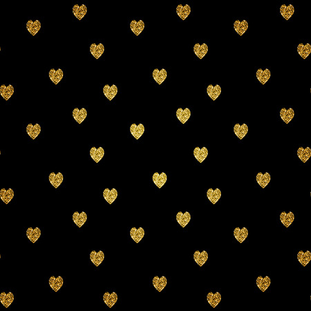 gold textured background: Seamless pattern with gold glitter textured hearts. Vector background