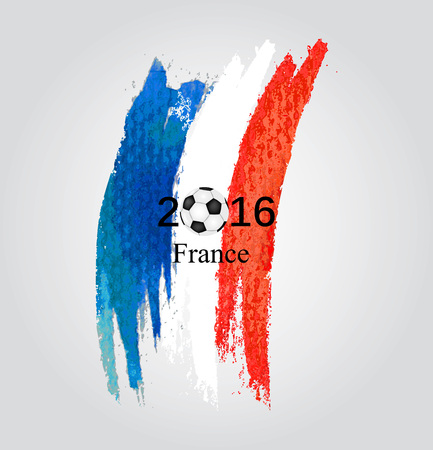 elimination: Euro 2016 France football championship with ball and france flag  Vector illustration