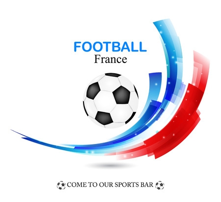 championship: Euro 2016 France football championship with ball and france flag  Vector illustration