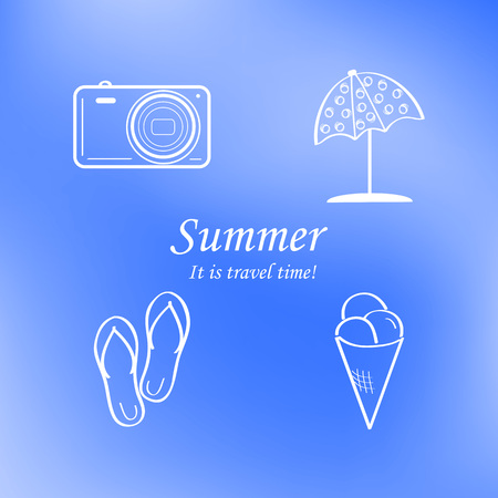 Summer and travel icon set on abstract blurred blue background. Ilustração