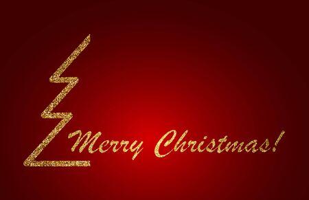 Merry Christmas Lettering Design on red background. Vector illustration. EPS 10 Ilustração