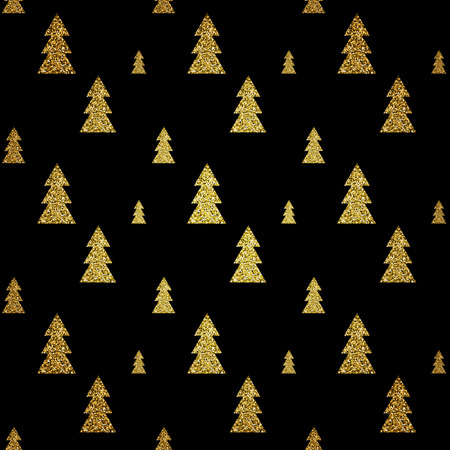 Seamless pattern of gold Christmas tree on black background. Elegant pattern for Christmas or New year background, festive banner, card, invitation, postcard. Vector illustration.