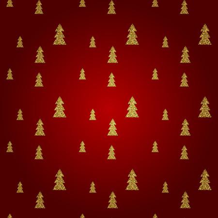 Seamless pattern of gold Christmas tree on red background. Elegant pattern for Christmas or New year background, festive banner, card, invitation, postcard. Vector illustration. Ilustração