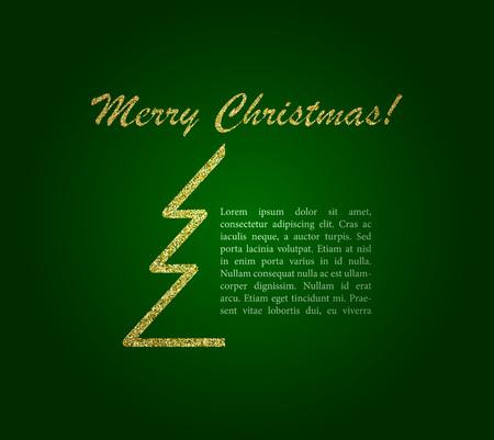 Merry Christmas Lettering Design on green background. Christmas card. Vector illustration. EPS 10