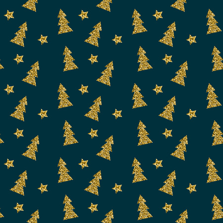 Seamless pattern of gold Christmas tree on blue background. Elegant pattern for Christmas or New year background, festive banner, card, invitation, postcard. Vector illustration.