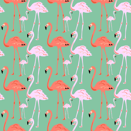 Flamingo Seamless Pattern on blue background. Silhouette of bird. Vector illustration design for fabric and decor.