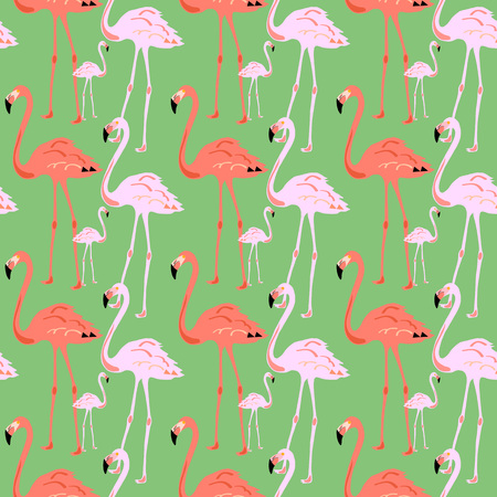 Flamingo Seamless Pattern on green background. Silhouette of bird. Vector illustration design for fabric and decor.
