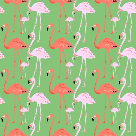 Flamingo Seamless Pattern on green background. Vector illustration design for fabric and decor. Banco de Imagens