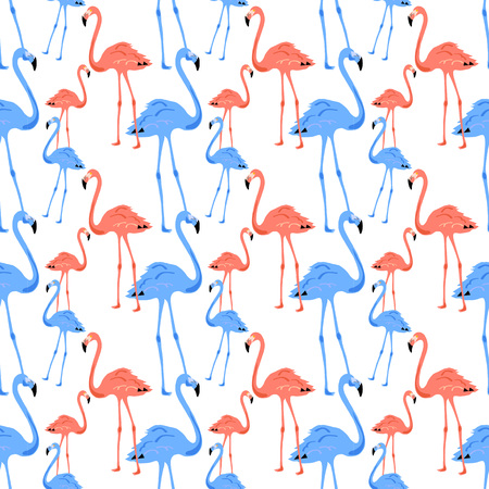 Flamingo Seamless Pattern on white background. Pink flamingo. Vector illustration design for fabric and decor. Banco de Imagens