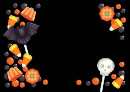 Halloween postcard with sweets, composing a frame for any text Vector