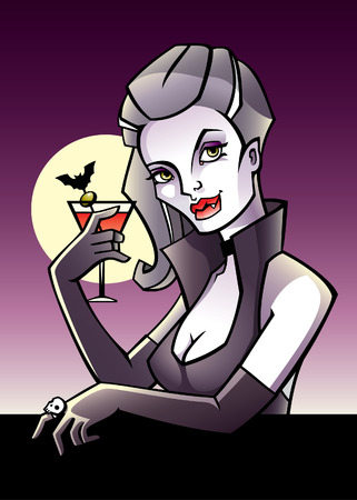 Halloween postcard with vampire drinking bloody mary Vector