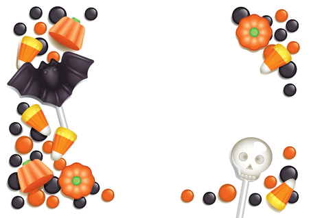 liquorice: Halloween postcard with sweets, composing a frame for any text