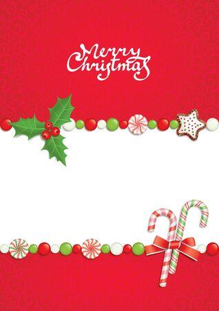 holiday cookies: Postal con la inscripci�n de la felicitaci�n de Navidad  Vectores