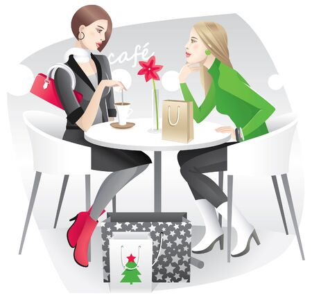 Two young women resting in the cafe and discussing their christmas purchases Vector