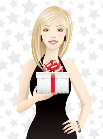 seduction: Young woman holding gift box Illustration