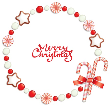 jellybean: Christmas background with candies, composing a round frame for your text