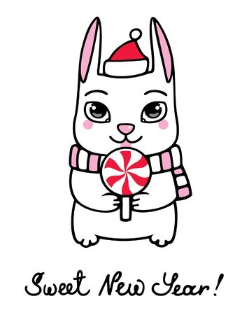 New Year bunny with lollipop Vector