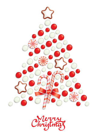 Candy christmas tree with greeting inscription Stock Vector - 8364681