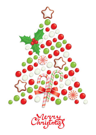 Candy christmas tree with greeting inscription Vector