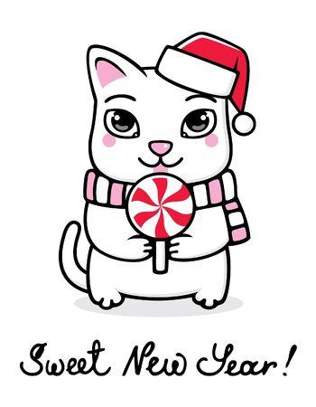 New Year kitten with lollipop Vector