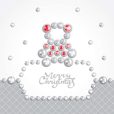 Christmas background with teddy bear silhouette composed of crystals Vector