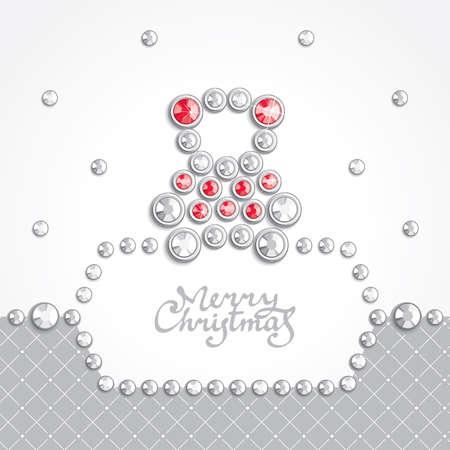 bear silhouette: Sfondo Natale con orsacchiotto silhouette � composta da cristalli Vettoriali