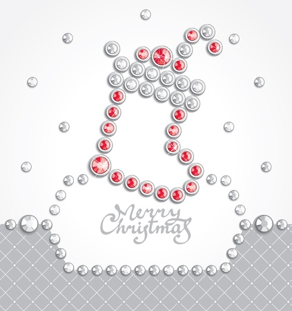 Christmas background with sock silhouette composed of crystals Vector