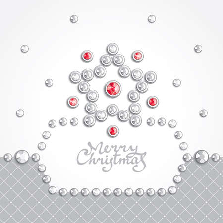 Christmas background with star silhouette composed of crystals Vector