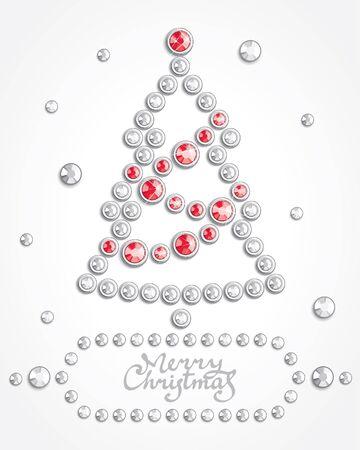strass: Background with Christmas Tree Silhouette bestehend aus Kristallen