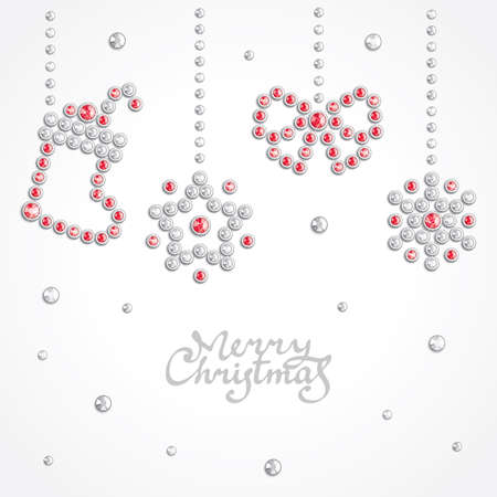 christmas paste: Christmas background with holiday symbols silhouettes composed of crystals