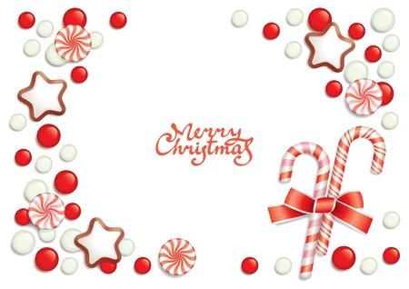 holiday cookies: Fondo de Navidad con dulces componer un marco para el texto