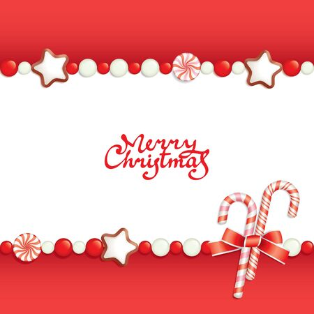 composing: Christmas background with sweets composing a frame for your text