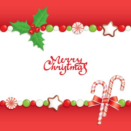 Christmas background with sweets composing a frame for your text Stock Vector - 8490215