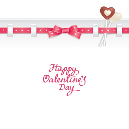 postcard template: Valentine background decorated with ribbon and candies