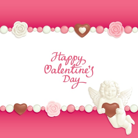 Valentine background with sweets composing a frame for your text Vector