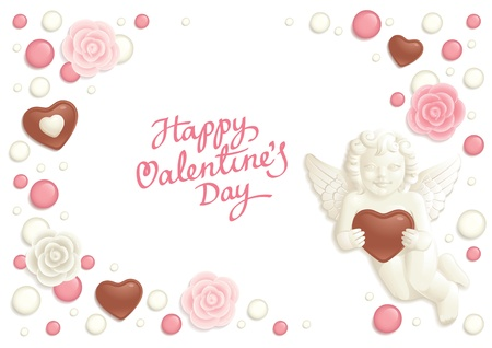 Valentine background with sweets composing a frame for your text Stock Vector - 8701751