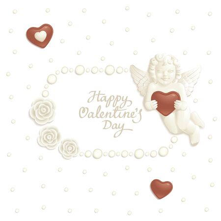 angel roses: Valentine background with sweets composing a frame for your text