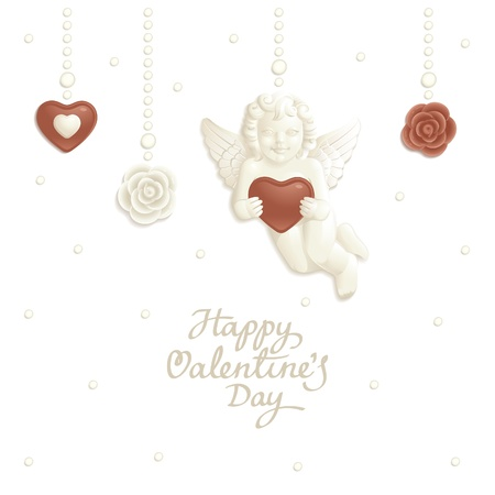 Valentine background with white and milk chocolate candies Vector
