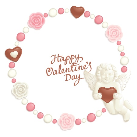 composing: Valentine background with sweets composing a round frame for your text