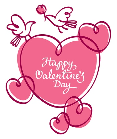 Valentine romantic background with hearts and greeting inscription Vector