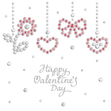 Fondo de San Valentín con símbolos de vacaciones se compone de cristales