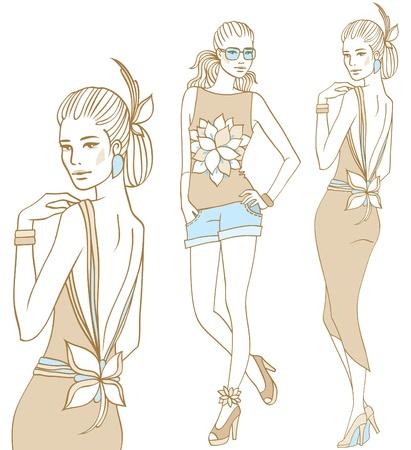 traino: Modelli di moda femminile insieme in stile doodle