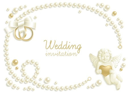 Wedding background with jewels composing a frame for your text Vector